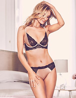 Silk & Lace Set with Non-Padded Plunge B-DD, , catlanding