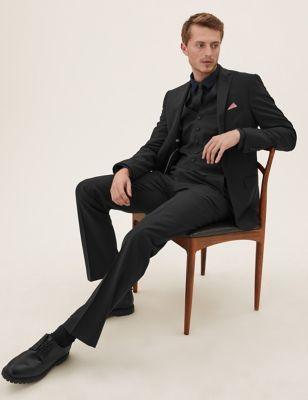 Black Tailored Fit Wool 3 Piece Suit
