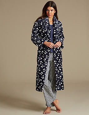 Printed Pyjama Set with Dressing Gown, , catlanding