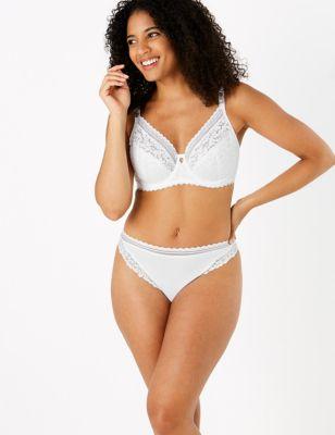 Cotton & Lace Non-Padded Bra Set A-E