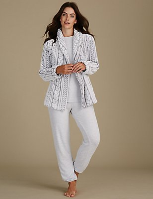 Cable Knit Dressing Gown Set, , catlanding