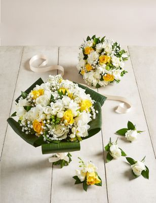 Yellow & White Rose & Freesia - Wedding Party Package