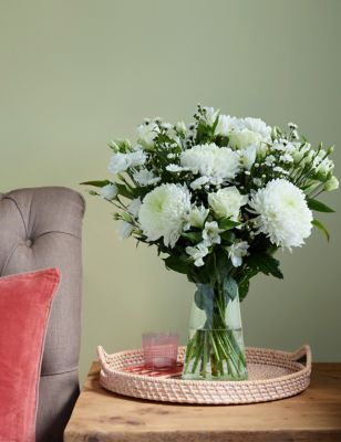 Serene White Flower Bouquet (Available for delivery from 28th December 2018)