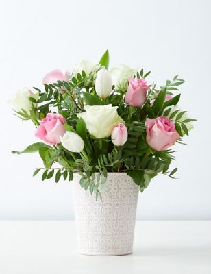 Pink & White Rose Pail