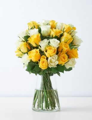 Yellow & White Mixed Rose Bouquet