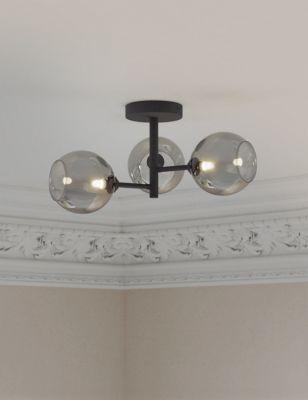 3 Light Globe Flush Ceiling Light