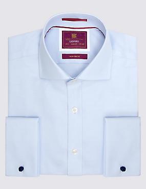 Pure Cotton Easy to Iron Slim Fit Shirt, SKY BLUE, catlanding