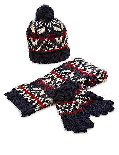 Kids' Fair Isle Hat, Scarf & Gloves Set | M&S