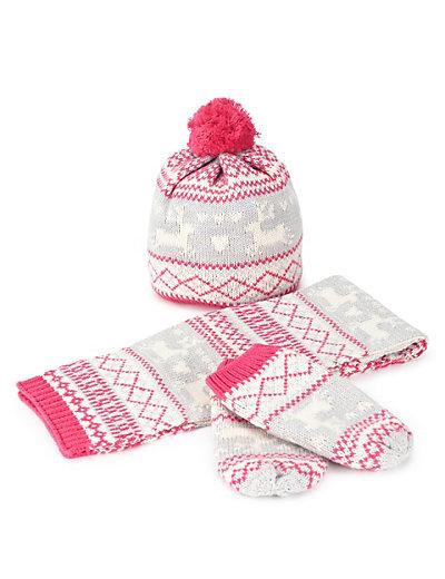 Cotton Rich Christmas Fair Isle Hat, Scarf & Gloves Set with Wool (Yo