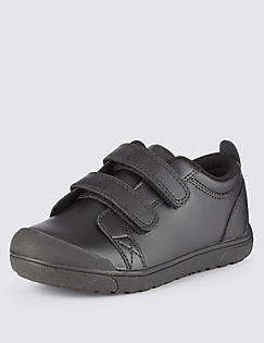 T72/8523B: Kids Leather Freshfeet™ Scuff Resistant Toe Bumper Trainers with Silver Technology