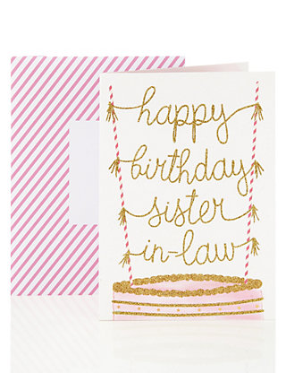 Happy birthday card for sister in law glitter cake design ms bookmarktalkfo Image collections