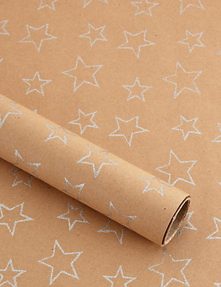 Silver glitter stars christmas wrapping paper ms negle Image collections