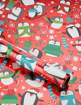 Festive penguins christmas wrapping paper ms negle Image collections