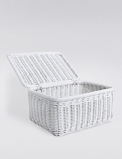 White Wicker Storage Box With Lid Best Design 2017