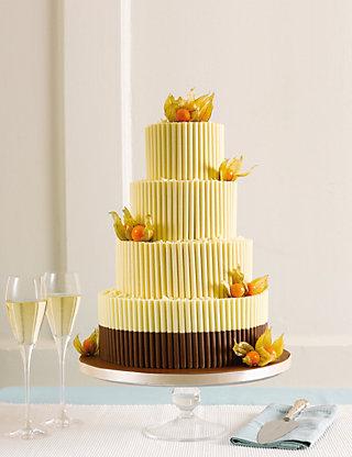 White Chocolate Curls Wedding Cake