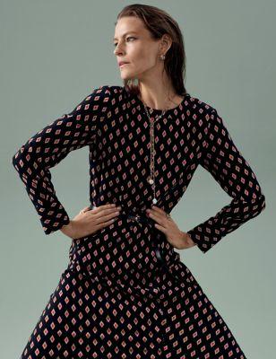 Geometric Belted Midaxi Column Dress