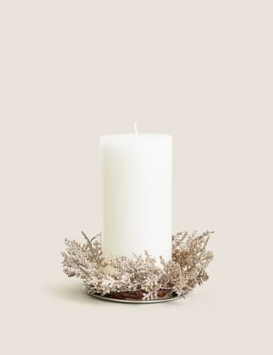 Pillar Wreath Light Up Candle