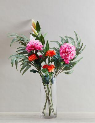 Set of 2 Artificial Large Stargazer Lilies