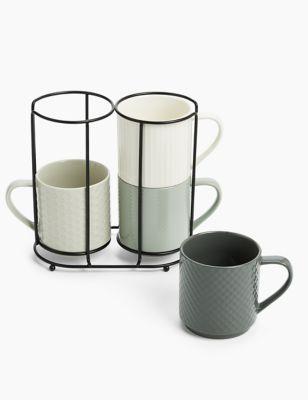 Set of 4 Stacking Mugs