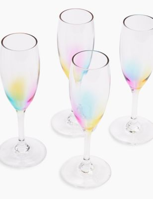 Set of 4 Rainbow Picnic Champagne Flutes