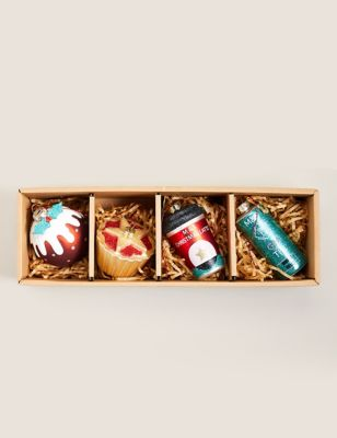 4 Pack Glass Food Tree Decorations