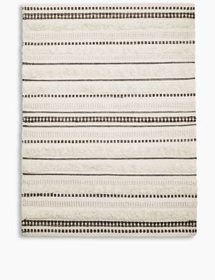 Pure Wool Striped Popcorn Woven Rug