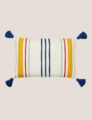 Pure Cotton Heron Stripe Bolster Cushion