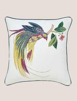 Pure Cotton Tulipomania Embroidered Cushion