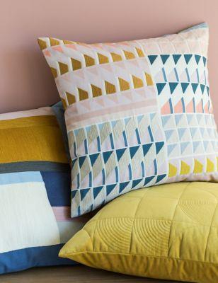Cotton Geometric Embroidered Cushion