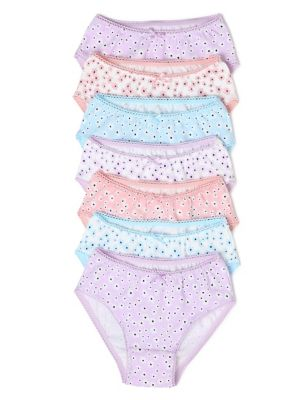 7pk Cotton Floral Knickers (2-16 Yrs)