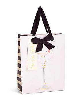 Watercolour Cocktail Medium Gift Bag, NO COLOUR, catlanding