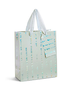 Holographic Silver & Grey Medium Gift Bag, NO COLOUR, catlanding