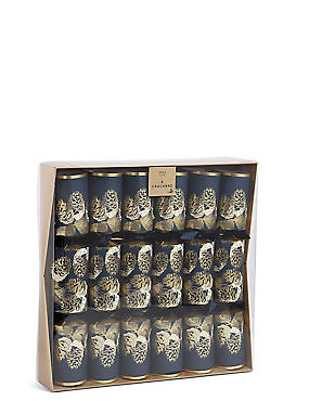 Navy & Gold Pine Cone & Conifer Christmas Crackers Pack of 6, RED, catlanding