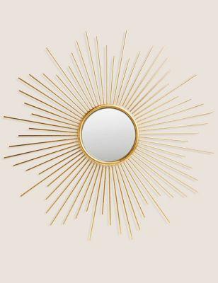 Sunburst Metal Round Mirror