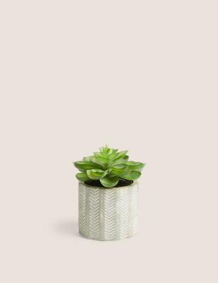 Artificial Mini Echeveria in Concrete Pot