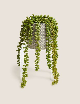 Artificial String of Pearls in Ceramic Pot
