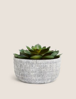 Artificial Large Echeveria in Concrete Pot