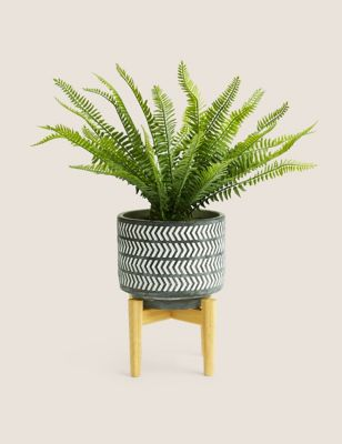 Artificial Boston Fern Planter with Stand