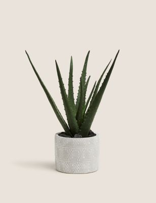 Artificial Medium Aloe Plant in Pot