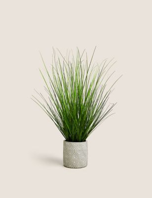 Artificial Medium Grass in Geometric Pot