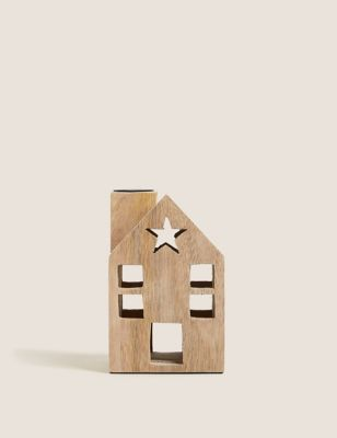 Wooden House Small Dinner Candle Holder