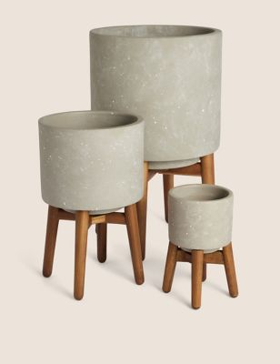 Stoneware Planters with Stand