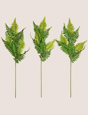 Set of 3 Artificial Ferns Single Stems