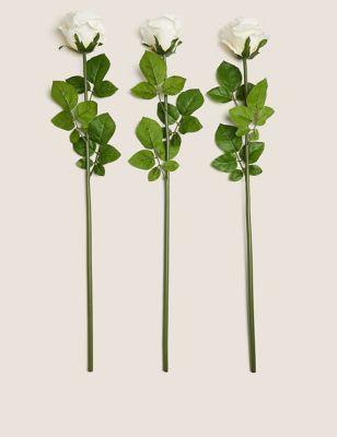 Set of 3 Artificial Rose Stems