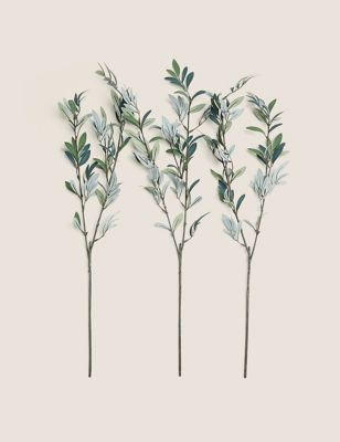 Set of 3 Artificial Olive Branches