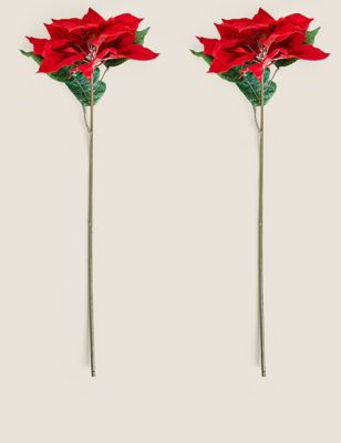 Set of Two Poinsettia Single Stems