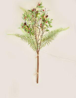 Artificial Pre-Lit Mistletoe and Berries