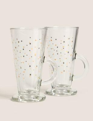 Set of 2 Star Latte Glasses