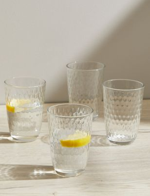 Set of 4 Textured Spot Glasses