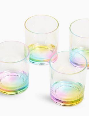 Set of 4 Rainbow Picnic Tumblers